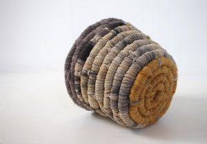 Anindilyakwa arts Fabric basket made with bush dyed cotton and silk reusing plastic fish nets